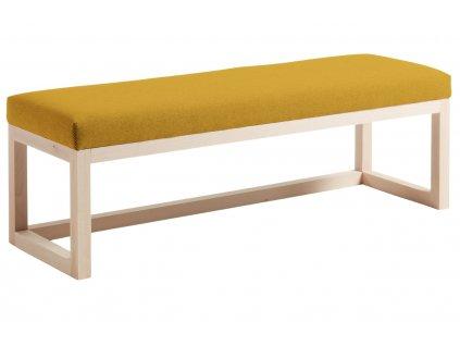Hořčicově žlutá látková dřevěná lavice LaForma Yola 128 cm