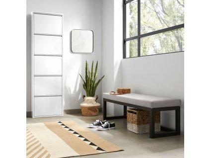 Šedá látková dřevěná lavice LaForma Yola 128 cm