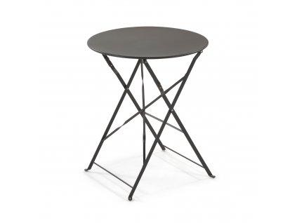 Tmavě skládací kovový kulatý stůl LaForma Alrick 60 cm