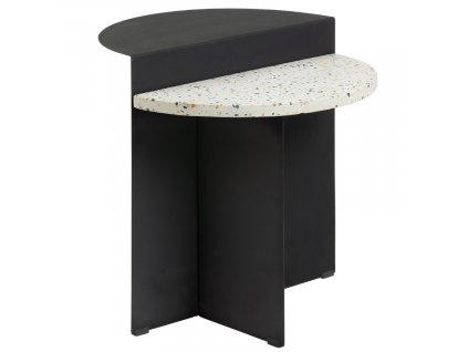 Bíločerný terrazzo odkládací stolek LaForma Cleary 50 cm