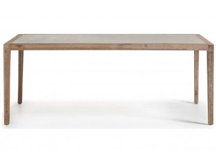 Šedý dřevěný zahradní jídelní stůl LaForma Corvette 200 x 90 cm s betonovou deskou