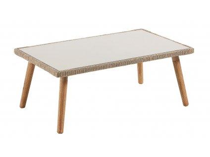 Zahradní konferenční stolek LaForma Gillian 100x60 cm s dřevěnou podnoží