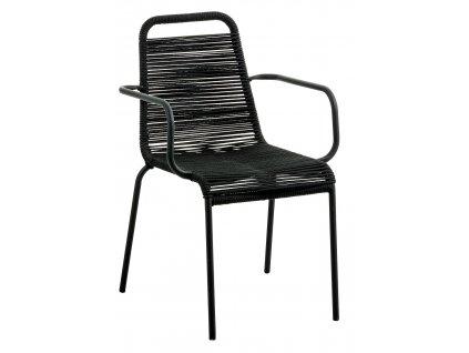Černá kovová proplétaná jídelní židle LaForma Glenville s područkami