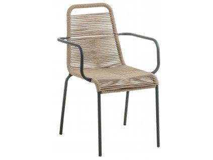 Světle hnědá kovová proplétaná jídelní židle LaForma Glenville s područkami s kovovou podnoží