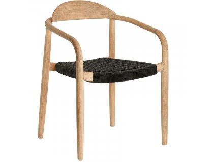 Černá dřevěná jídelní židle LaForma Glynis s područkami