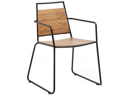 Přírodní teaková zahradní židle LaForma Komfort  s kovovou podnoží
