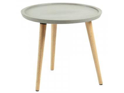 Šedý cementový odkládací stolek LaForma Livy 40 cm s dřevěnou podnoží