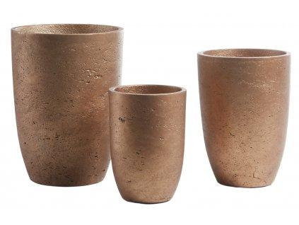 Set tří měděných betonových květináčů LaForma Lux, odlišné velikosti, neopracovaný vzor