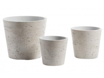 Set tří béžovo šedých betonových květináčů LaForma Lux I.