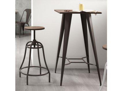 Černá kovová barová židle LaForma Malibu s dřevěným sedákem