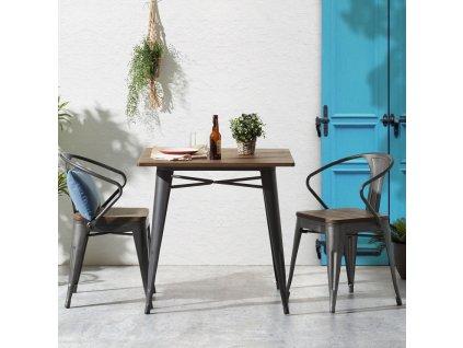 Černá kovová jídelní židle LaForma Malibu s bambusovým sedákem