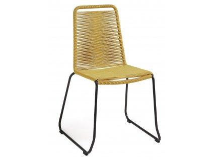 Hořčicově žlutá proplétaná zahradní židle LaForma Meagan s kovovou podnoží