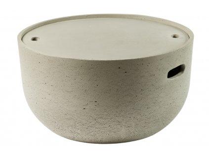 Šedý cementový odkládací stolek LaForma Rhette 58 cm s úložným prostorem