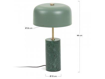 Zelená mramorová stolní lampa LaForma Biscane s kovovým stínidlem