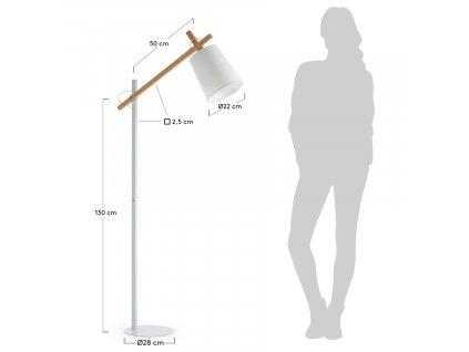 Bílá kovová stojací lampa Jovik