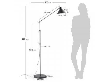 Černá kovová stojací lampa LaForma Odine