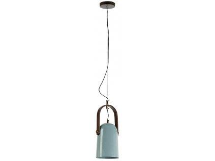Světle modrá kovová závěsná lampa ZANEE