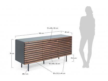 Grafitově černá dřevěná komoda LaForma Mahon 162x74 cm s ořechovými dřevěnými dvířky