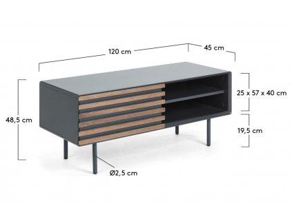 Grafitově černý dřevěný TV stolek LaForma Mahon 120x48 cm s kovovou podnoží