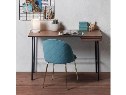 Grafitově černý dřevěný pracovní stůl LaForma Mahon 120x60 cm s kovovou podnoží