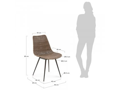 Hnědá ratanová jídelní židle LaForma Equal s kovovou podnoží