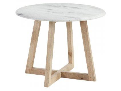 Bílý mramorový odkládací stolek HELLA, přírodní materiály, mangové dřevoorez