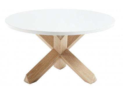 Bílý dřevěný kulatý konferenční stolek LaForma NORI 65 cm