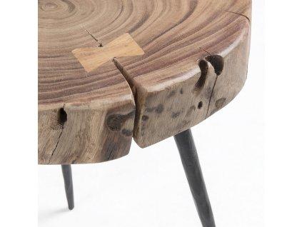 Dřevěný odkládací stolek LaForma Rousy III. s kovovou podnoží