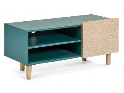Masivní zelený dřevěný TV stolek LaForma Saks z mangového dřeva