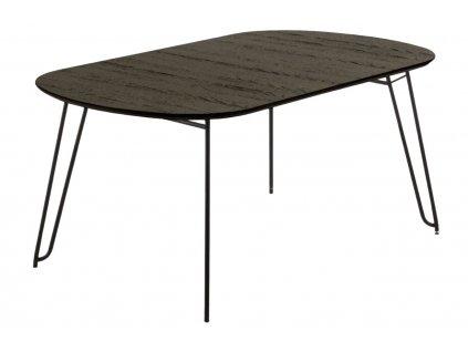 Tmavě hnědý dřevěný rozkládací stůl LaForma Norfort 140-220x90 cm s kovovou podnoží