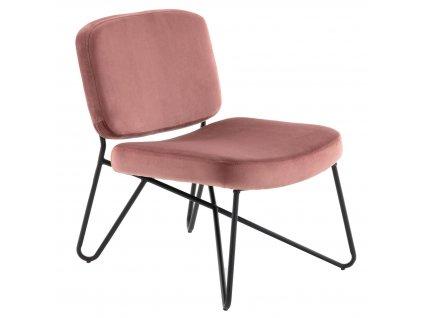 Designové sametové křeslo LaForma CIRCUIT světle růžová