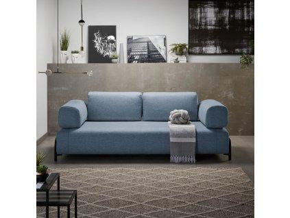 Modrá čalouněná pohovka LaForma Compo s kovovou podnoží