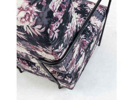 Sametové křeslo LaForma Gamer s květinovým vzorem s kovovými područkami