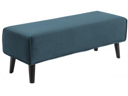 Tyrkysová sametová lavice LaForma Lydia 111 cm
