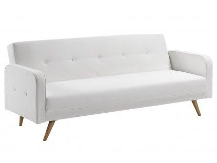 Bílá koženková rozkládací pohovka LaForma Regor 210 cm