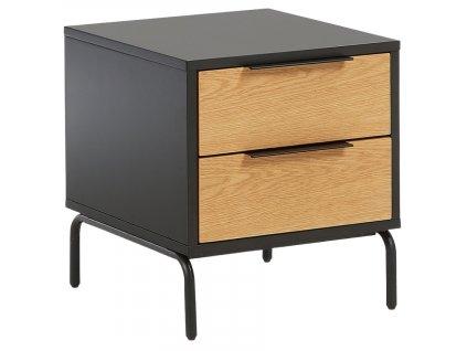 Matně černý dřevěný noční stolek LaForma Savoi s kovovou podnoží