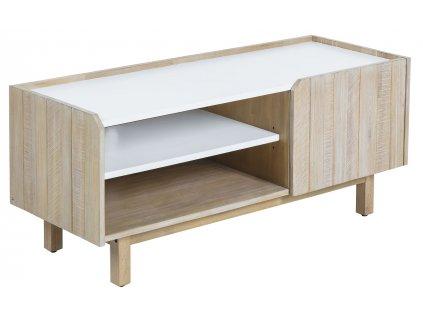 Bílý dřevěný TV stolek LaForma Tropea 120x50 cm s bílými policemi