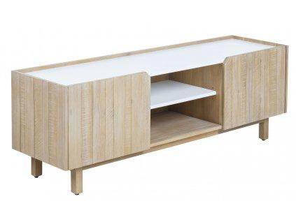 Bílý dřevěný TV stolek LaForma Tropea 160x55 cm z akátového dřeva