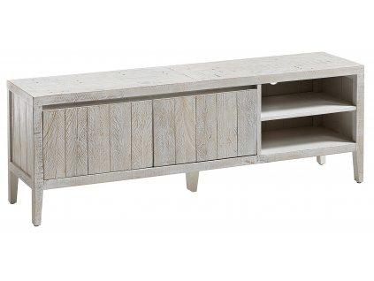 Bílý dřevěný TV stolek LaForma Woody 160x55 cm