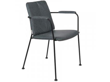 Šedomodrá látková jídelní židle ZUIVER FAB s područkami