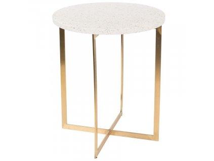 Bílý kulatý kameninový stolek ZUIVER Luigi Round