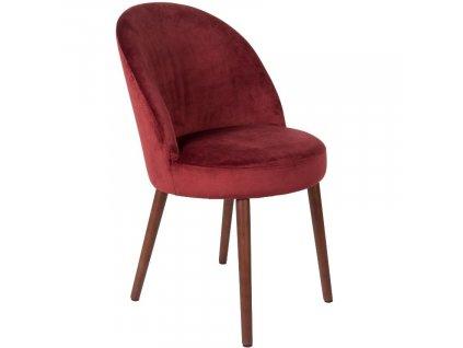 Červená sametová jídelní židle DUTCHBONE Barbara