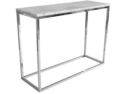 Chromový odkládací stolek RGE Accent 100 cm s bílou mramorovou deskou