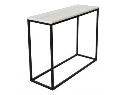 Černý odkládací stolek RGE Accent 100 cm s bílou mramorovou deskou