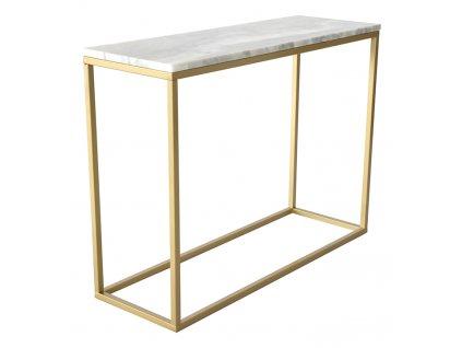 Zlatý odkládací stolek RGE Accent 100 cm s bílou mramorovou deskou