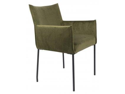 Olivově zelená sametová jídelní židle WLL DION