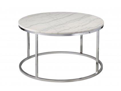 Bílý mramorový konferenční stolek RGE Accent s chromovou podnoží Ø 85 cm