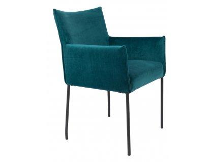 Petrolejově modrá sametová jídelní židle WLL DION