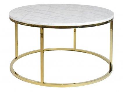 Lesklý zlatý kulatý konferenční stolek RGE Accent 85 cm s bílou mramorovou deskou