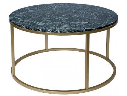 Zlatý kulatý konferenční stolek RGE Accent 85 cm se zelenou mramorovou deskou